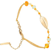 Bijoux Satellite - Bracelet chaîne Alizia, dorure or 14K, Orange