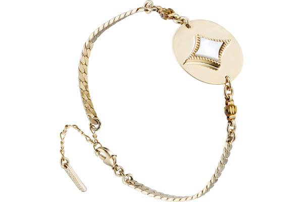 Bracelet chaîne médaillon June, dorure or 14K, Blanc Satellite