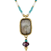 Collier pendentif agate Tender Tiger doré Satellite
