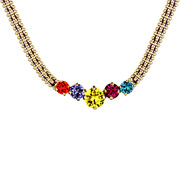 Bijoux Satellite - Collier multi rangs cristal Swarovski et fil de soie Hollywood