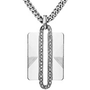 Bijoux Satellite - Collier pendentif rectangle cristal Swarovski Manhattan argenté