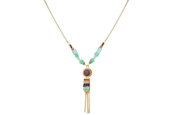 Collier Suzanne dorure or 14K, Bleu Satellite