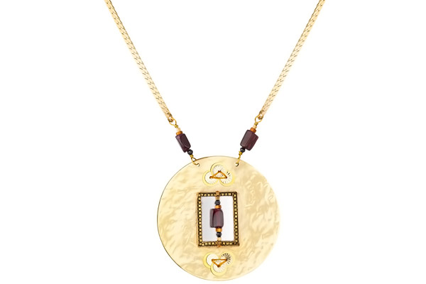 Collier médaillon Suzanne dorure or 14K, violet Satellite