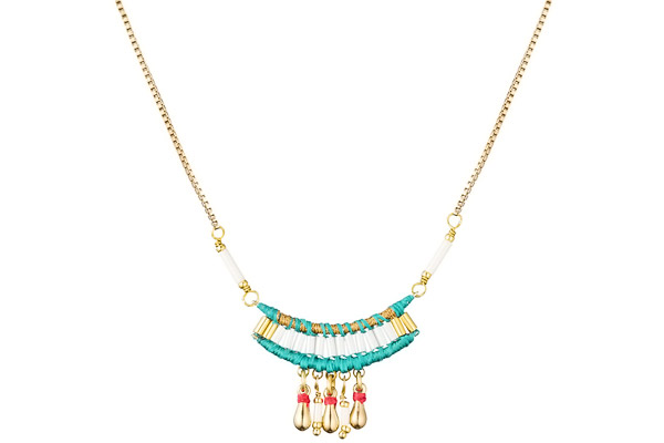 Collier breloques Tananarive, dorure or 14K, Turquoise Satellite