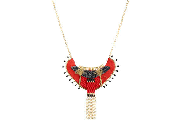 Collier plastron Jane, dorure or 14K, Rouge Satellite