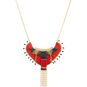 Bijoux Satellite - Collier plastron Jane, dorure or 14K, Rouge