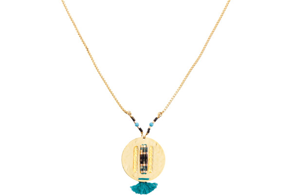 Collier médaillon Jane, dorure or 14K, Turquoise Satellite