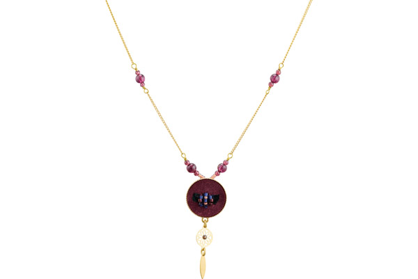 Collier ras de cou médaillon Indiana, dorure or 14K, Violet Satellite