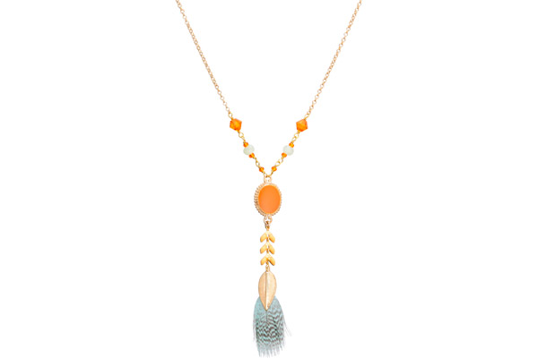 Collier plume Alizia, dorure or 14K, Orange Satellite