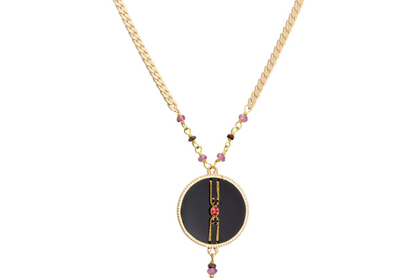 Collier Gisele, dorure or 14K, Noir Satellite