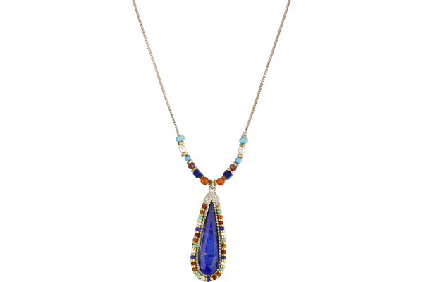 Collier Claudia, dorure or 14K, Bleu Satellite