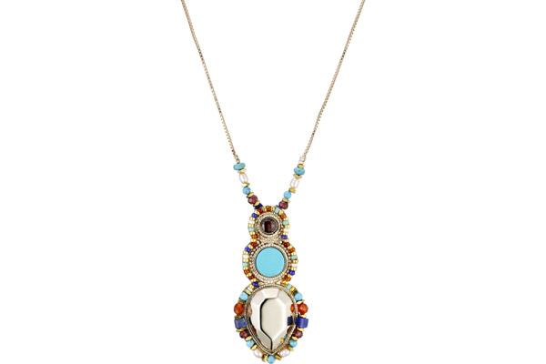 Collier Claudia, dorure or 14K, Multicolore Satellite