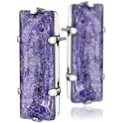 Bijoux Stefano Poletti - Boucles d'oreilles cristal taille rectangle Shock violet XL