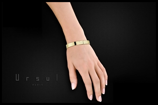 Bracelet Saturne plaqué or 18K, L, Ø65mm Ursul, plan large