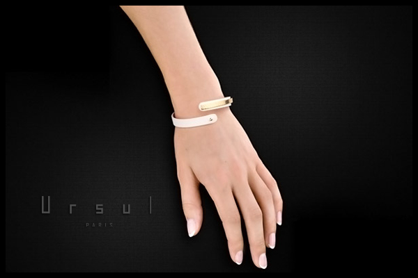 Bracelet femme en cuir Uraeus 8, plaquage or 18K, Blanc, Ø65mm Ursul, packaging