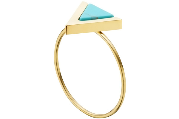 Bague triangle, dorure or jaune, T54 Zag Bijoux