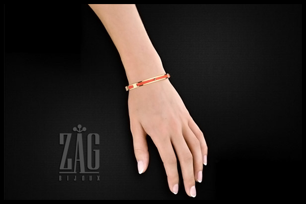 Bracelet manchette cordons, dorure or jaune, orange, Ø60mm Zag Bijoux, packaging