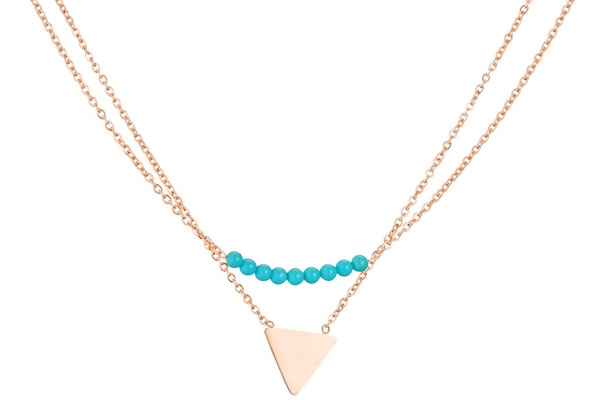 Collier triangle 2 rangs, dorure or rose Zag Bijoux