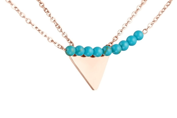 Collier triangle 2 rangs, dorure or rose Zag Bijoux, gros plan