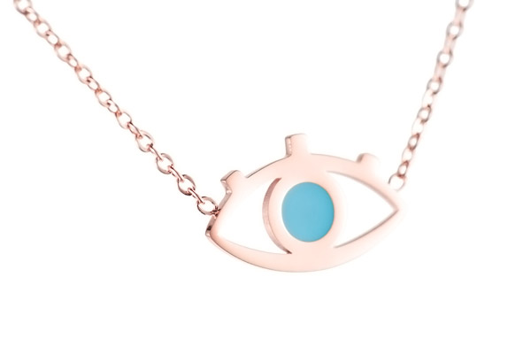 Collier œil, dorure or rose, turquoise Zag Bijoux, gros plan