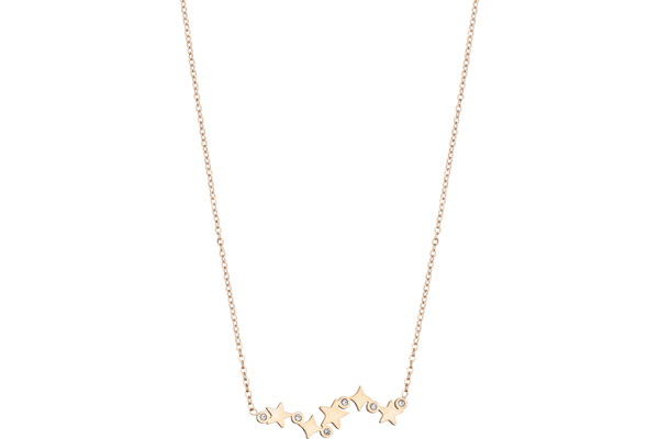 Collier constellation en acier, dorure or rose, brillants Zag Bijoux