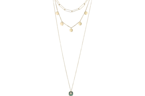 Collier 3 rangs, dorure or jaune, Malachite Zag Bijoux